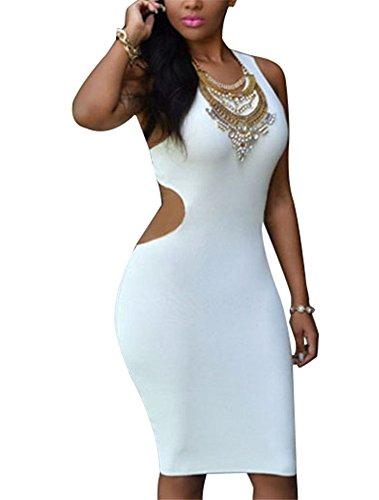 Cfanny Femmes Dos Découpe Robe Moulante Vêtement De Soirée Blanc