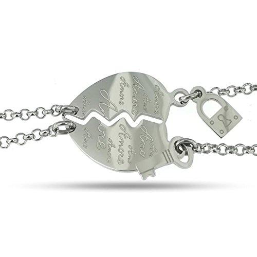 Nalbori® bracciale acciaio anallergico doppio cuore spezzato si spezza lucchetto chiave (scritta amore)