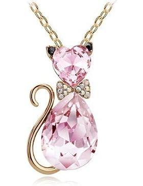Katzen-Halskette Rosa mit Swarovski-Kristallen 18 Karat vergoldete Geschenk für Frauen und Mädchen (Hellrosa gold)