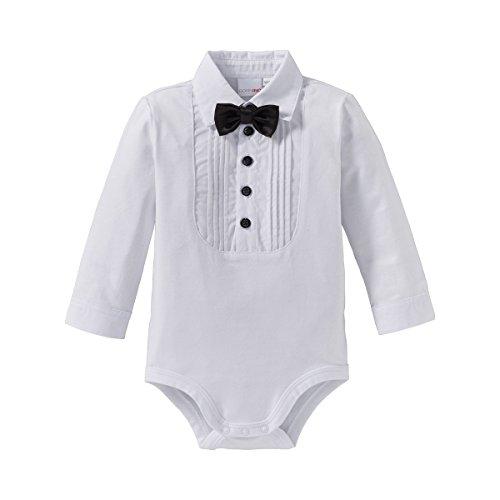 Bornino Baby Body langarm Hemd mit abnehmbarer Fliege/Langarmbody Junge/Jersey-Qualität/weiß (Weißes Hemd Fliege Mit)