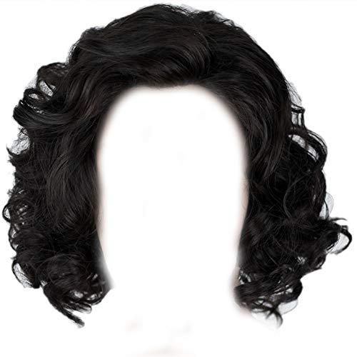 Jon Snow Perücke Herren Cosplay Wig Schwarz Lokig mit Haarnetz Kostüm Zubehör für Halloween, Karneval und (Jon Snow Kostüm)
