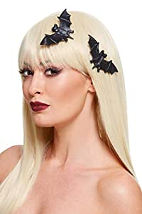 Smiffys 52049 - Pinzas para el pelo de murciélago, color negro