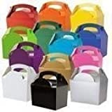 15 Childrens/Kids Plain Coloured Carry Food Meal Birthday Party Box Loot Bag Boxes - Size: 152mm x 100mm x 102mm (Variety of Colours)
