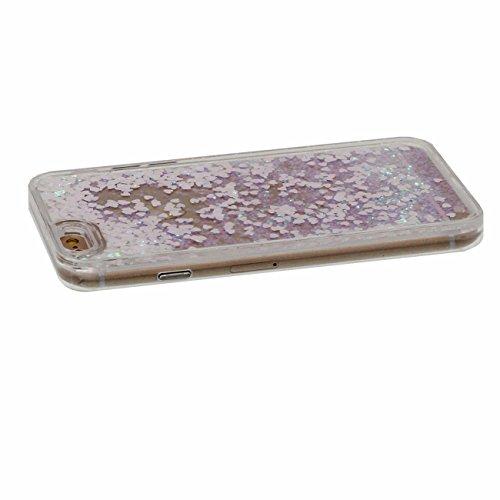 Coque Dur Flowable Transparent Liquide / Coeurs / Étoiles / Sable Conception Série Clair Housse de protection Case pour Apple iPhone 6 Plus / 6S Plus 5.5 inch avec 1 stylet rose