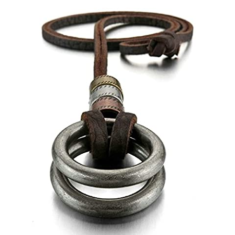 Gold Plated Leather Men Pendant Necklace - Adjustable Rings Vintage-with Chain Silver - Adisaer