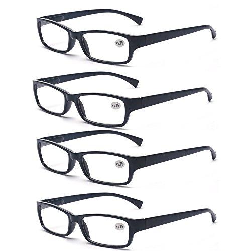 ALWAYSUV Lesebrille 4Stücke Lesebrille Modische Lesebrille Schwarz Brillenfassung Reading Glasses+1.50