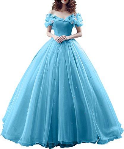 Victory Bridal Wunderschoen Hell Blau 1es Kurzarm Abendleider Quincenera Ballkleider Lang Promkleider Cinderella -36 Hell Blau 1