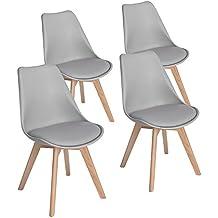 eggree lot de 4 chaises de cuisine gris en bois tm rtro tulip - Chaises Scandinaves Grises
