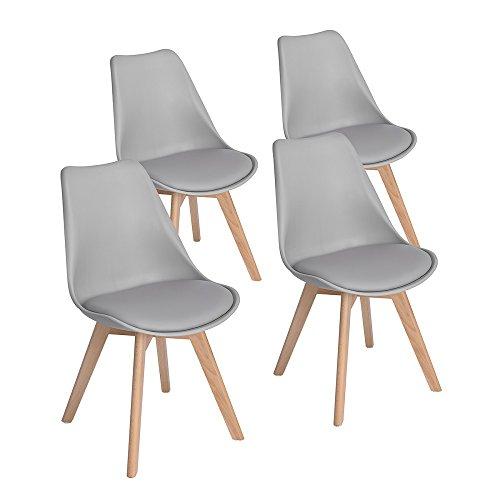 EGGREE 4er Set Grau Esszimmerstühle mit Massivholz Buche Bein, Retro Design Gepolsterter lStuhl Küchenstuhl Holz -