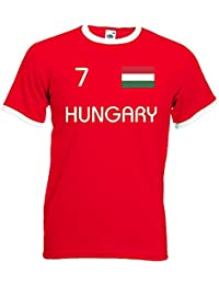 world-of-shirt Herren Retro T-Shirt Ungarn EM 2016 Trikot Nr.7
