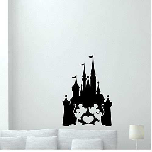 Wandtattoo Wand Schloss Mickey Mouse Minnie Vinyl Kunst Wandaufkleber Für Mädchen Kinder Kinderzimmer Dekoration Kindergarten Aufkleber 29X42 Cm