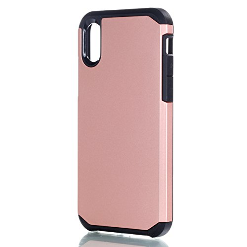iPhone X Hülle, MOONMINI 2 in 1 Weich TPU Silikon Schale + Hard PC Dual Layer Hybrid Handy Tasche Case Slim Stoßfest Back Schutzschale Schutzhülle für iPhone X (2017) Schwarz Rose Gold