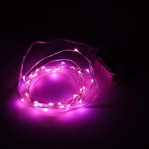 E-Goal Argent Fil LED Lights ¨¦toil¨¦es, AA ¨¤ piles pour la Saint Valentin, No?l, Thanksgiving (rose)