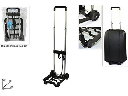 Vetrineinrete® Carrello porta valigia pieghevole e richiudibile porta pacchi manuale per trasporti portavaligie con elastico di sicurezza F27