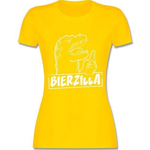 Halloween - Bierzilla - L - Gelb - L191 - Damen T-Shirt Rundhals