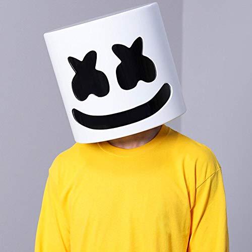 popchilli DJ Mask DJ Marshmello Maske Latex DJ Marshmallow Mask Halloween Maske Kostüm Erwachsene Cosplay Kostüm Helm Konzert Requisiten Bars Party Kostüm Requisiten