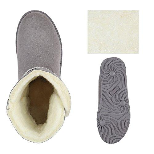 Damen Schuhe Schlupfstiefel Warm gefüttert Hellgrau Knopf