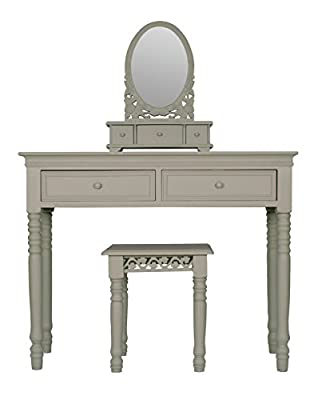 Belgravia Style Dressing Table, Mirror and Stool Set in French Grey