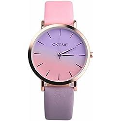 Sunday Relojes Baratos Dos Colores Dobles De Cuero Moda Mujer Reloj Gradiente Arco Iris Azul Y Rosa DiseñO Damas Vestido De Cuarzo Relojes Relojes Marea Mujer Sunday Reloje Muy Bonito Relojes