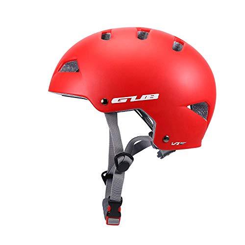 Asvert Casque de Vélo Mixe Casque de VTT Réglable Casque Trotinette Adulte Helmet Casque Velo Urbain pour BMX Alpinisme Escalade Roller Cyclisme, M/Rouge