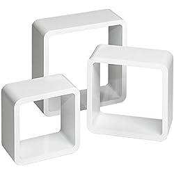 tectake 800703 3 Etagères murales Design Cube de Rangement en Bois, pour des Livres, CDs et de la décoration, Matériel de Montage Inclus - Plusieurs Couleurs - (Blanc | no. 403180)