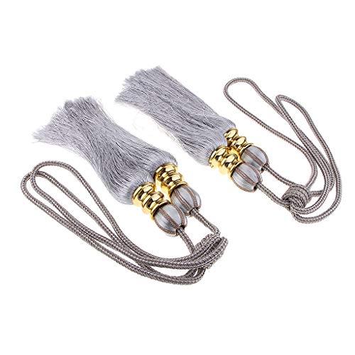 asten Zugband Vorhanghalter Raffhälter Gardinenhalter Raffhalter Halterung, 43cm Seil - Silber grau ()