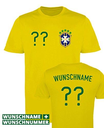 Comedy Shirts BRASILIEN WM EM - WUNSCHDRUCK - Herren Trikot - Gelb/Grün-Blau Gr. S -