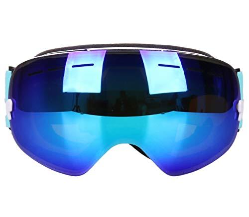 Gyqjs occhialini da sci unisex a doppia patinatura hd visione isolamento abbagliamento radiazioni anti-nebbia neve anti-sabbia occhiali da sole moto motoslitta,blue