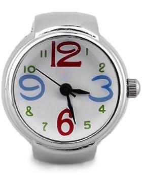 Gleader Ring Uhr Ringuhr Fingeruhr Damenuhr rund silberfarbe Quarzwerk Legierung HOT