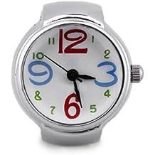Gleader Reloj Anillo Cuarzo Metal Esfera Redonda Color Plata para Mujer NEW c6eef27bca93