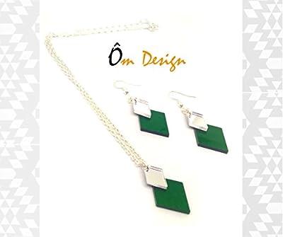 Collier arlequin -plexiglas vert et miroir-