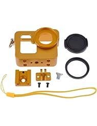 Neewer Aluminium Boîtier de Protection Housse Shell Bordure Cadre Protecteur de Fixation d' Or + 37mm UV Filtre pour Gopro Hero 3 3+(Or)
