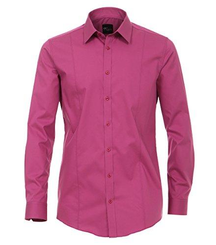 Venti - Body Fit/Super Slim Fit - Bügelfreies Herren Langarm Hemd in diversen Farben (001470) Magenta (957)