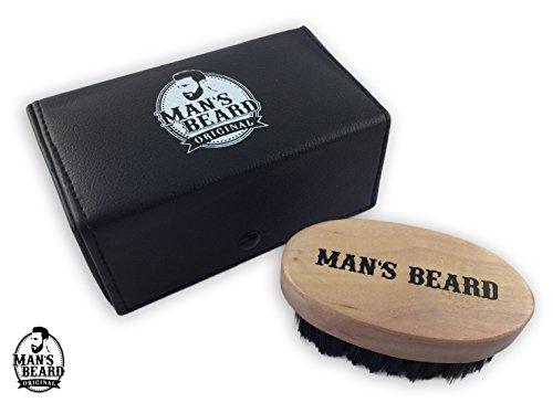 man's beard - brosse à barbe avec etui simili cuir - manche en bois exotique