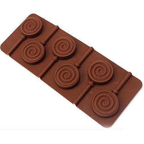 duode Tiempo 6cavidades Chocolate Cartoon Cute Lollipop silicona DIY antiadherente alta resistencia teperature Ice Cube Jelly Candy y jabón Pudín molde