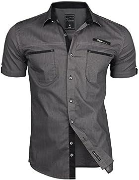 TRISENS–Camicia da uomo, a maniche corte, slim fit, estiva, in cotone, stile polo