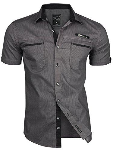 Trisens - Camisa de manga corta para hombre - A rayas - Estilo polo - Ajuste ceñido - Algodón negro XL