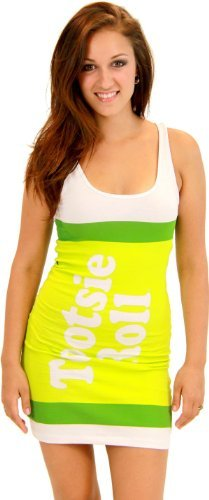 Tootsie Kostüm - TV Store Tootsie Roll Fruit Rolls Candy Lime grün Kostüm Tank Kleid (Kinder X-Large)