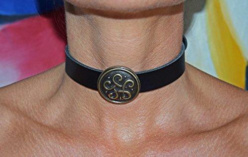 Handgefertigtes Premium Gothic Halsband Keltischer Knoten Mittelalter Echt Leder schwarz Halsschmuck für Rollenspiele