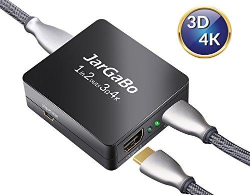 HDMI splitter 1 auf 2, JarGaBo HDMI Splitter Verteiler, 1 Eingang und 2 Ausgänge, 4k Ultra HD 2160p Full HD 1080p, Schwarz (Hdmi-splitter 10 In 1)