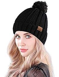 MUCO Mujer Gorro Invierno Sombrero Tejido Punto Grueso Cálido Sombrero  Pelota Pelotas Sombrero Dragón Burbuja Gorra f74e0e95465
