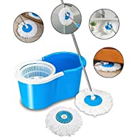 Vikas Mop Floor Cleaner with Spin Bucket Mop Set Offer for Best 360 Degree Easy Magic Cleaning, WITH 1 Microfiber (Blue Colour)