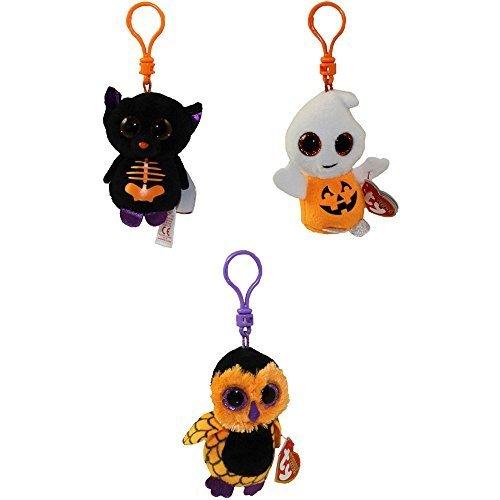 TY Halloweenie Beanie Babies - Set of 3 (Pumpkie, Fangs & Screech) (key clips) by Ty