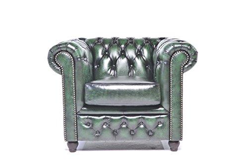 Original Chesterfield Sessel – 1 / 1 Sitzer – Vollständig Handgewaschenes Leder – Antik Grün