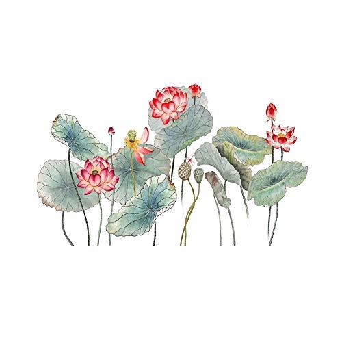 Serpico Lotus Blätter Blume Wandaufkleber PVC Abnehmbare Kunstwand Papier für TV Hintergrund DIY Wohnkultur -