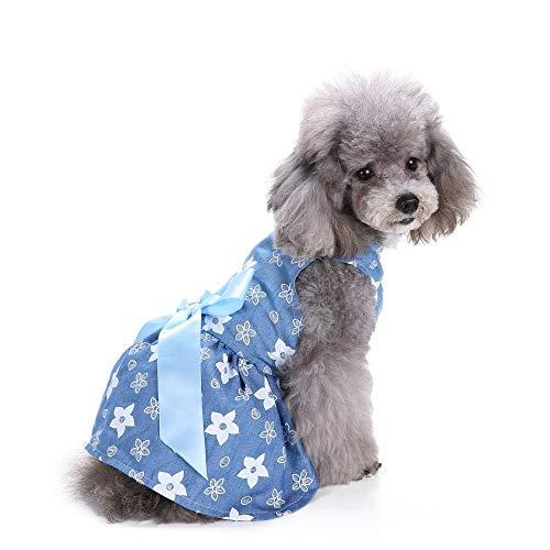 Jamisonme Hund Kleider für Kleine mittlere große Hunde Mädchen Sommer Hund Rock Lady Hund Kleid Floral Rock Hund Prinzessin Bogen Kleid von Kleider (Blaue ()