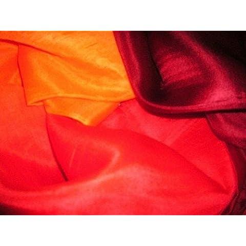 Bailarines Mundial 3 Color 100 % de seda rectangular de danza del vientre baile Velos bufanda del abrigo (Naranja Rojo