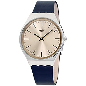 Swatch Unisex Adult Analogue Quartz Watch with Leather Strap SYXS115