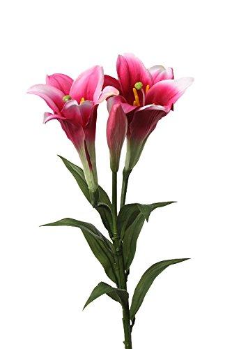 artplants Set 12 x Künstliche Oster-Lilie ERISA, pink, 75 cm, Ø 8-11 cm - 12 Stück Kunstblumen/Künstliche Lilien