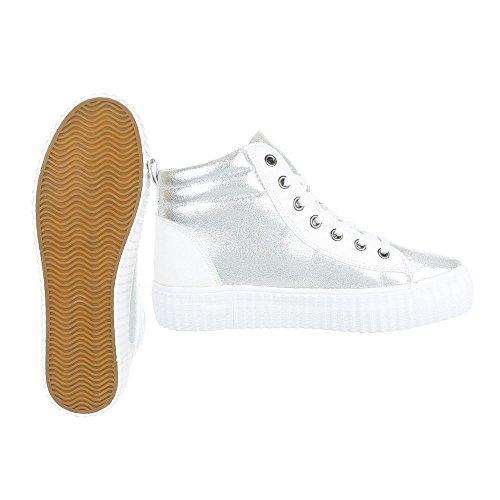 High-Top Sneaker Damenschuhe High-Top Sneakers Schnürsenkel Ital-Design Freizeitschuhe Silber Weiß